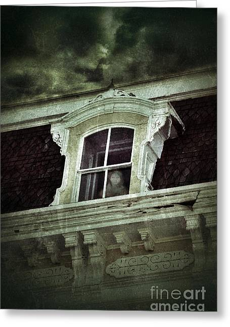 Haunted House Photographs Greeting Cards - Ghostly Girl in Upstairs Window Greeting Card by Jill Battaglia