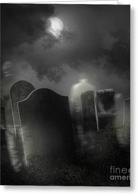 Funeral Greeting Cards - Ghosts wandering in old cemetery  Greeting Card by Sandra Cunningham