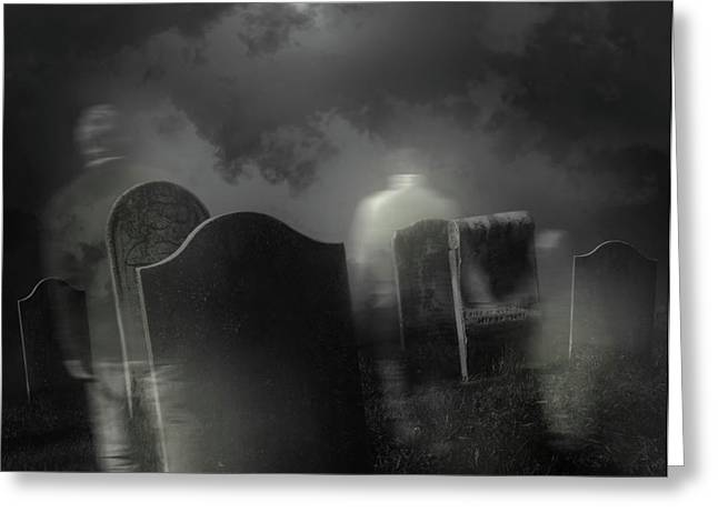 Ghosts wandering in old cemetery  Greeting Card by Sandra Cunningham