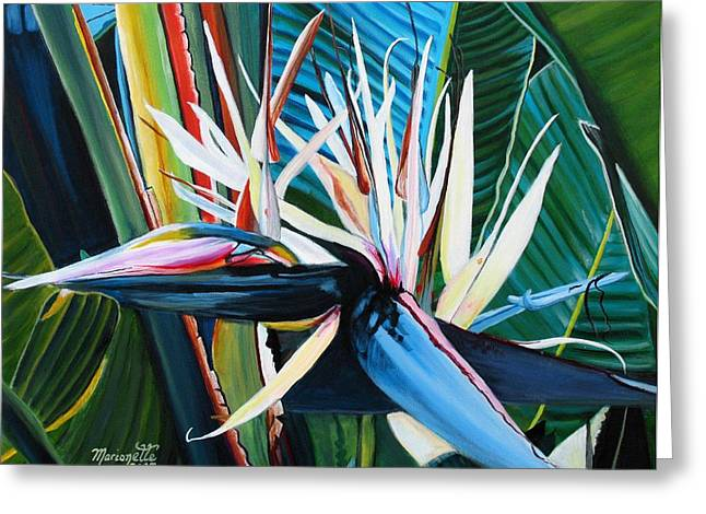 Tropical Birds Of Hawaii Greeting Cards - Giant Bird of Paradise Greeting Card by Marionette Taboniar