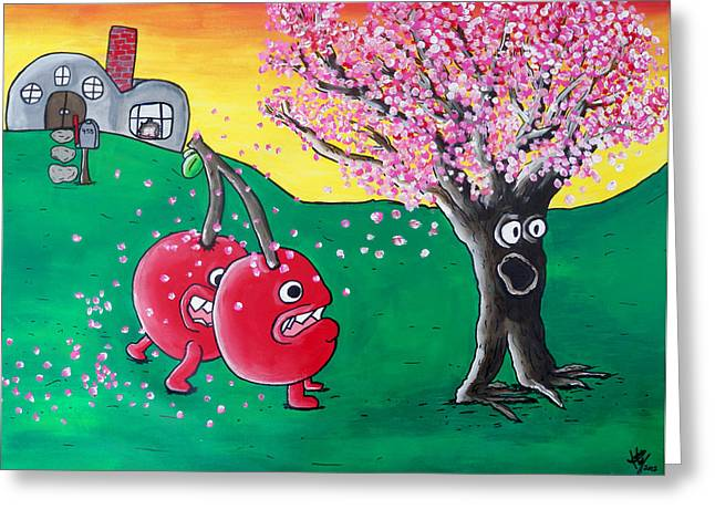 Run Your Life Greeting Cards - Giant Cherries Chasing Cherry Tree Greeting Card by Jera Sky