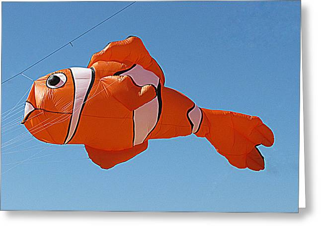 Sheats Greeting Cards - Giant Clownfish Kite  Greeting Card by Samuel Sheats