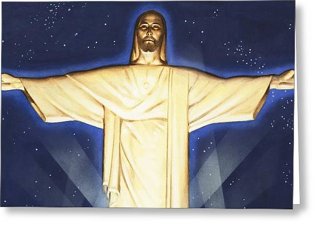 Rio De Janeiro Greeting Cards - Giant Figure of Christ Greeting Card by English School