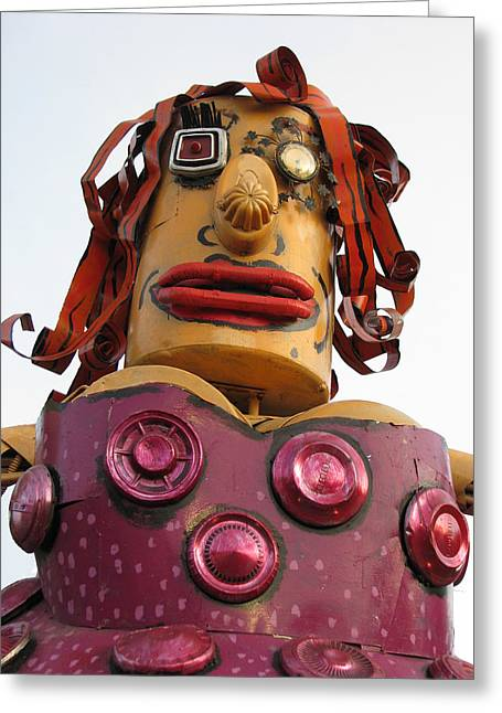 Sam Sheats Greeting Cards - Giant Friendly Lady Robot Greeting Card by Samuel Sheats
