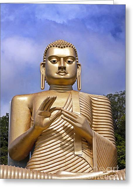 Sri Lanka Greeting Cards - Giant gold Bhudda Greeting Card by Jane Rix