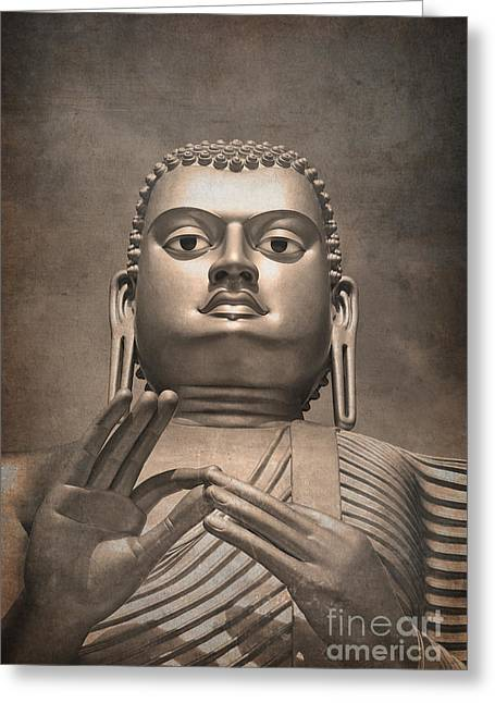 Sculpture Photographs Greeting Cards - Giant Gold Buddha vintage Greeting Card by Jane Rix