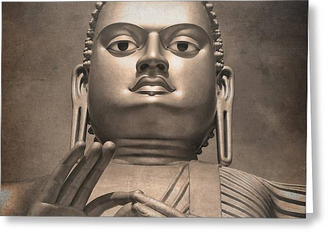 Giant Gold Buddha vintage Greeting Card by Jane Rix