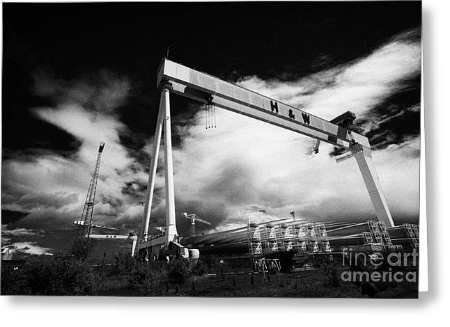 Component Greeting Cards - Giant Harland And Wolff Cranes Goliath Amd Samson With Wind Turbine Blades At Shipyard Titanic Greeting Card by Joe Fox