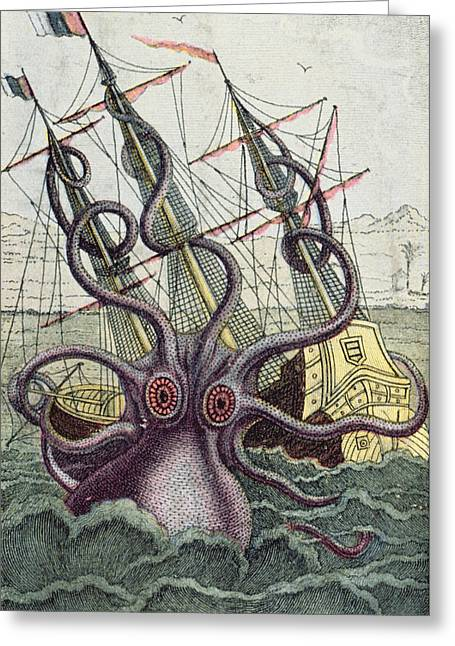 Wooden Ship Paintings Greeting Cards - Giant Octopus Greeting Card by Denys Montfort