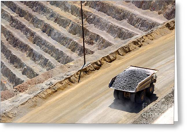 Mine Pit Greeting Cards - Giant Ore Truck Greeting Card by Gary Whitton