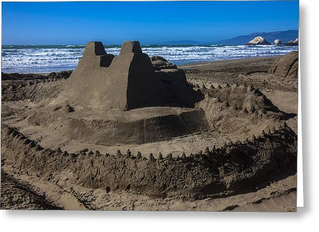 Sandy Beaches Greeting Cards - Giant sand castle Greeting Card by Garry Gay