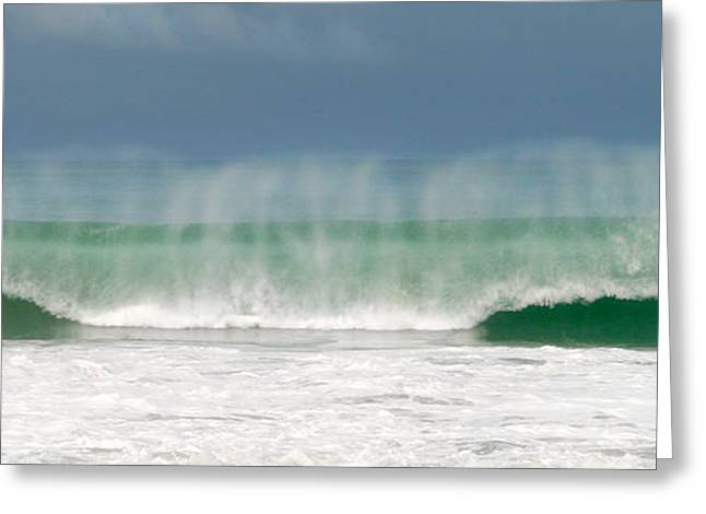 Blue Green Wave Greeting Cards - Giant Wave Playa Hermosa Costa Rica Greeting Card by Michelle Wiarda