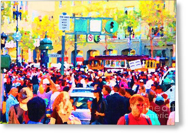 Grant Street Greeting Cards - Giants 2010 Champions Parade . Photo Artwork Greeting Card by Wingsdomain Art and Photography