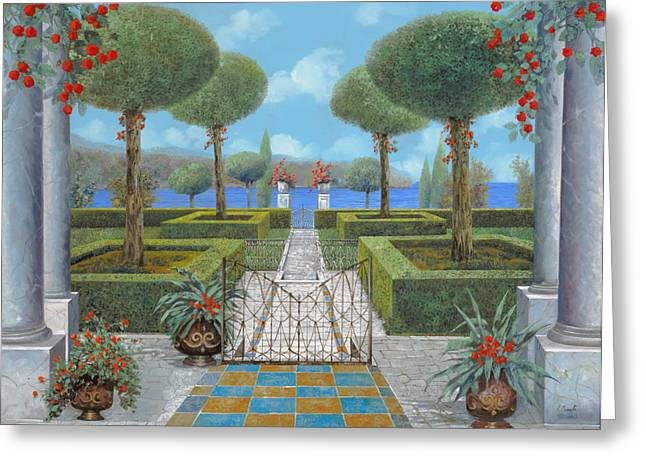 Italian Lake Greeting Cards - Giardino Italiano Greeting Card by Guido Borelli