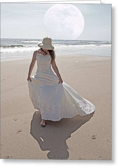 Gibbous Moon Gown Greeting Card by Betsy C Knapp
