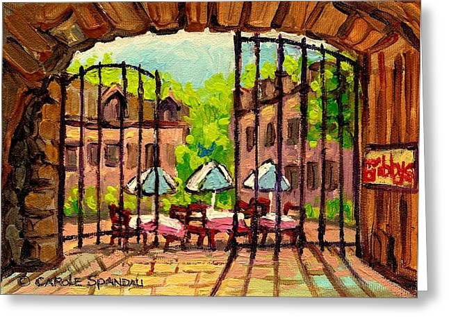 Classical Montreal Scenes Greeting Cards - Gibbys Restaurant In Old Montreal Greeting Card by Carole Spandau