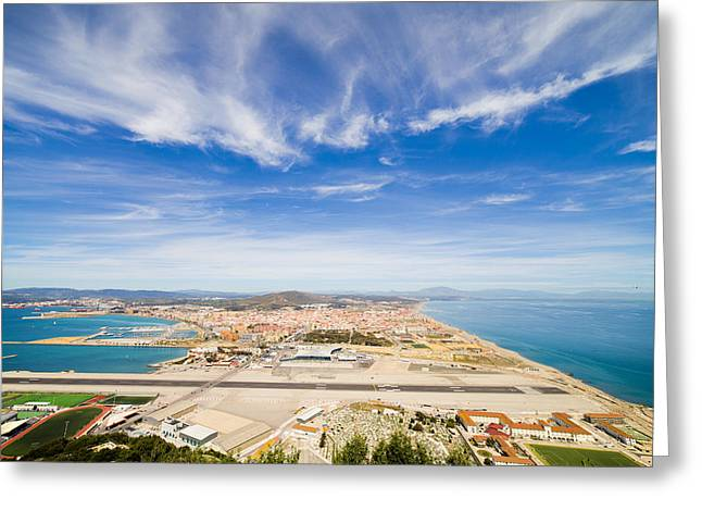 Airstrip Greeting Cards - Gibraltar Airport Runway and La Linea Town Greeting Card by Artur Bogacki