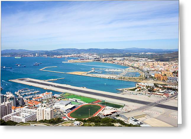 Airstrip Greeting Cards - Gibraltar Runway and La Linea Cityscape Greeting Card by Artur Bogacki