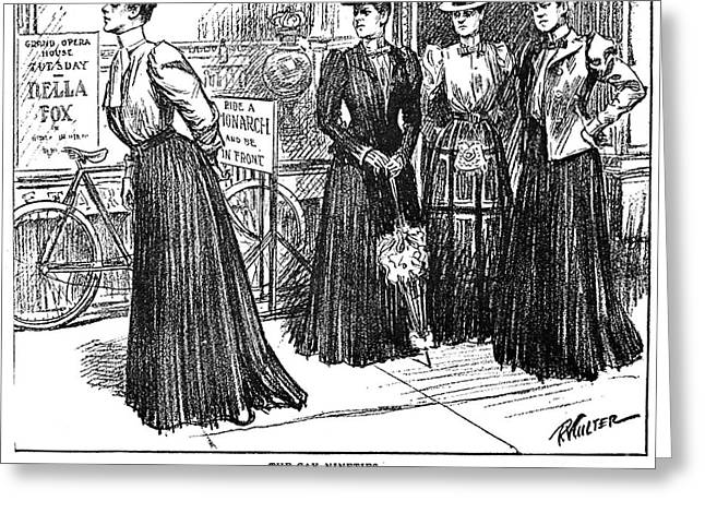 Long Skirt Greeting Cards - GIBSON GIRL, 1890s Greeting Card by Granger