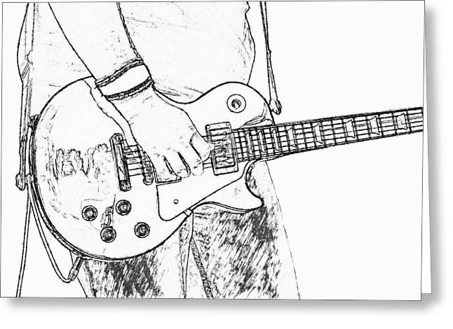 Les Greeting Cards - Gibson Les Paul Guitar Sketch Greeting Card by Randy Steele