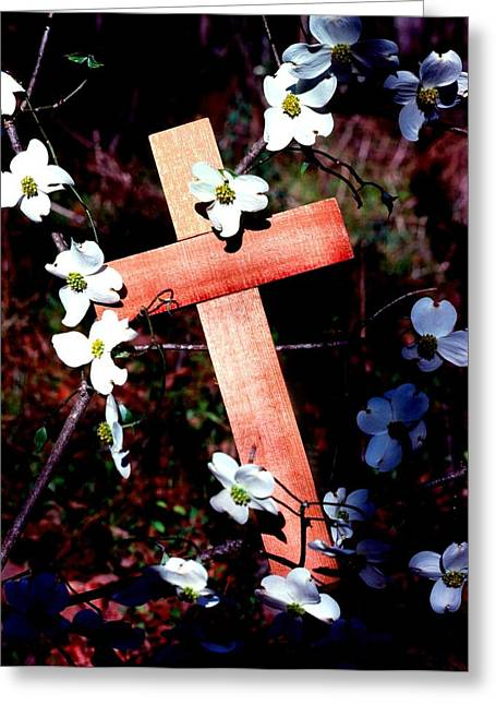 Fine Art Digital Art Greeting Cards - Gift Cross and Dogwood Greeting Card by John Foote