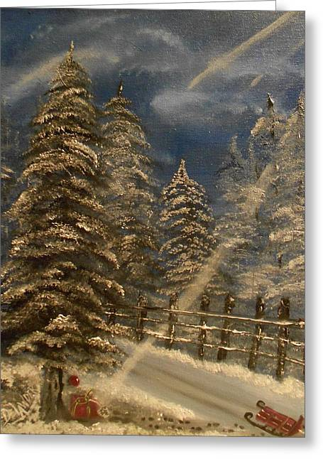 Sled.fence Greeting Cards - Gift for Santa Greeting Card by Mary DeLawder