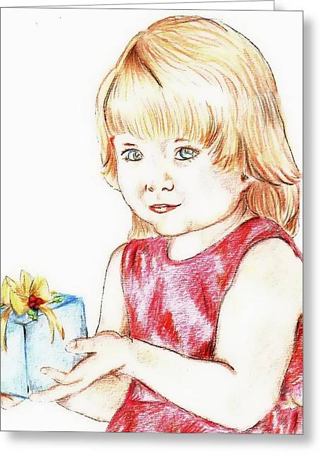 Occasion Drawings Greeting Cards - Gift Girl Greeting Card by Denny Phillips