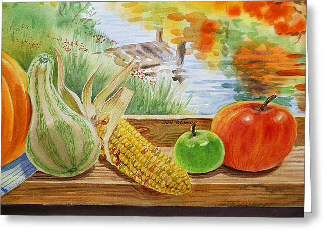 Apple Paintings Greeting Cards - Gifts From Fall Greeting Card by Irina Sztukowski