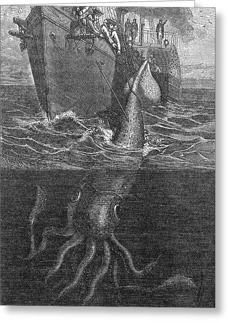 Giant Squid Greeting Cards - Gigantic Squid And Ship, 19th Century Greeting Card by Middle Temple Library