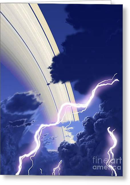 Images Lightning Digital Art Greeting Cards - Gigantic Storms Rage In Saturns Cloudy Greeting Card by Ron Miller