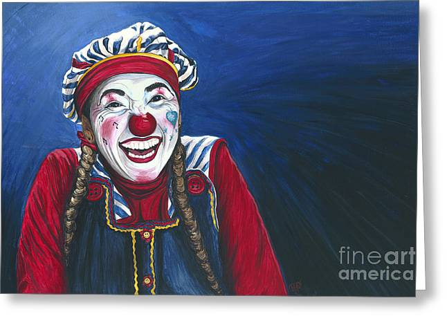 Patty Vicknair Greeting Cards - Giggles the Clown Greeting Card by Patty Vicknair