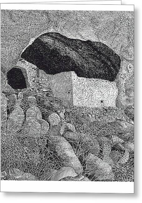 Pen And Ink Framed Prints Paintings Greeting Cards - Gila Cliff Dwelings BIG ROOM Greeting Card by Jack Pumphrey