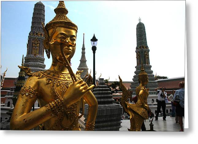 Gilding Greeting Cards - Gilded Statues Of Gods At The Grand Greeting Card by Anne Keiser