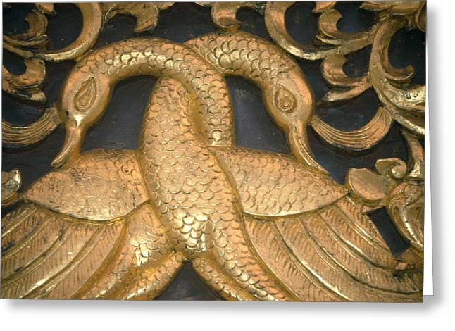 Thai Art Greeting Cards - Gilded Temple Carving Of Geese Greeting Card by Anne Keiser