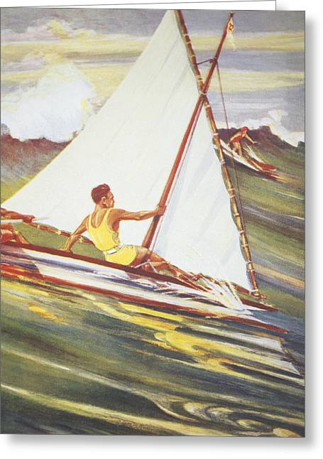 1921 Greeting Cards - Gilles Man Surfing Greeting Card by Hawaiian Legacy Archive - Printscapes
