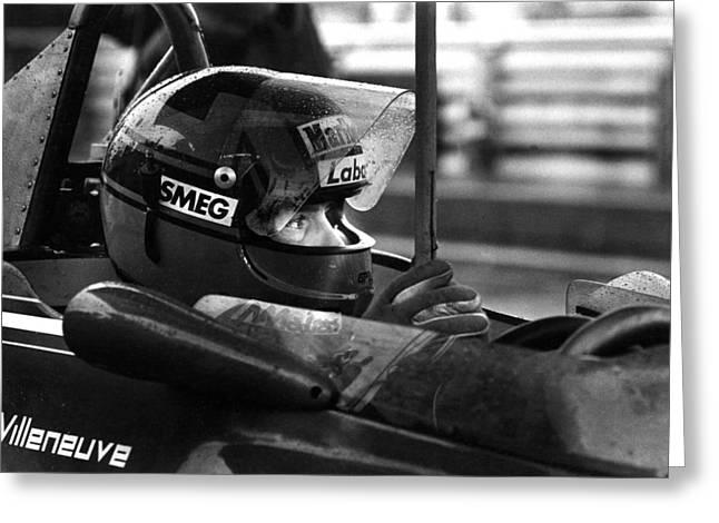 Mike Flynn Greeting Cards - Gilles Villeneuve 1950-1982 Greeting Card by Mike Flynn