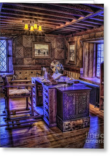 Woodcarving Greeting Cards - Gillette Castle Office HDR Greeting Card by Susan Candelario