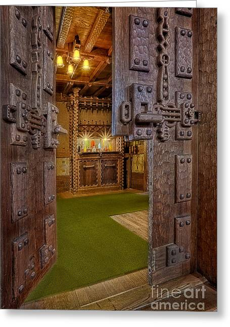 Wood Carving Greeting Cards - Gillette Castles Bar Greeting Card by Susan Candelario