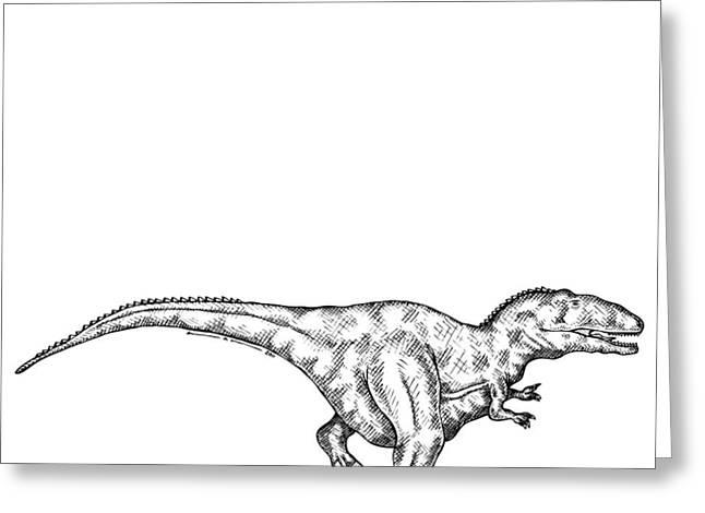 Nature Study Drawings Greeting Cards - Gimpusaurus - Dinosaur Greeting Card by Karl Addison