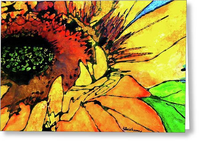 Gold Lime Green Greeting Cards - Ginas Sunflower Greeting Card by Laura  Grisham