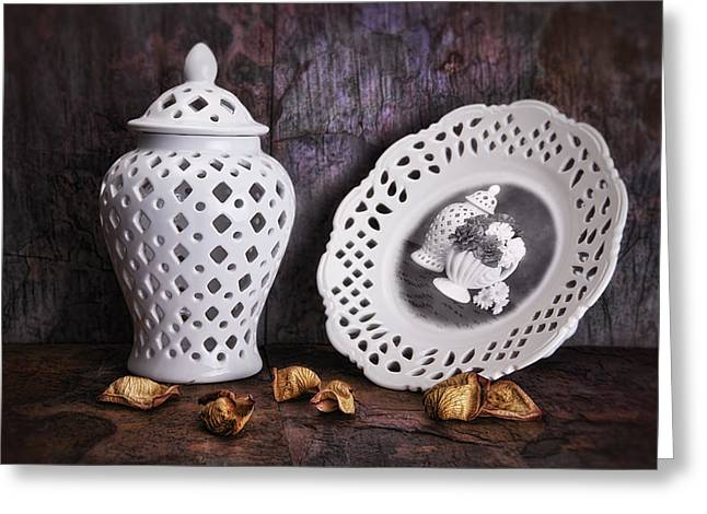 Flower Pictures Greeting Cards - Ginger Jar and Compote Still Life Greeting Card by Tom Mc Nemar
