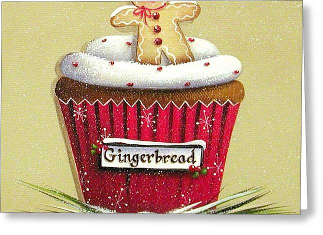 Christmas Art Greeting Cards - Gingerbread Cookie Cupcake Greeting Card by Catherine Holman