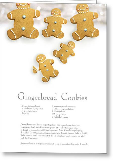 Frosting Greeting Cards - Gingerbread men cookies against cookie receipe Greeting Card by Sandra Cunningham