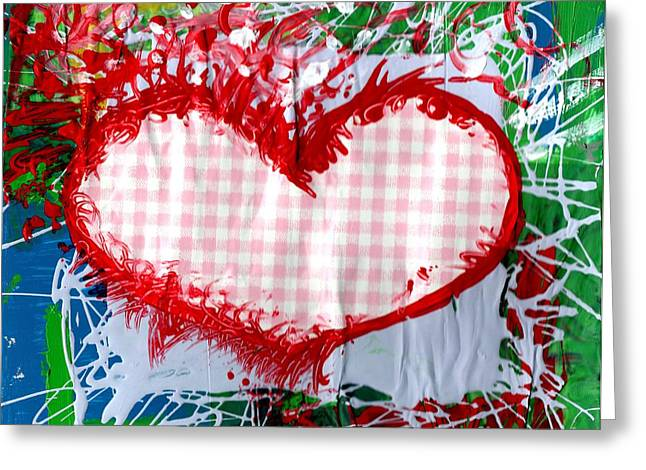 Esson Genevieve Esson Greeting Cards - Gingham Crazy Heart Greeting Card by Genevieve Esson