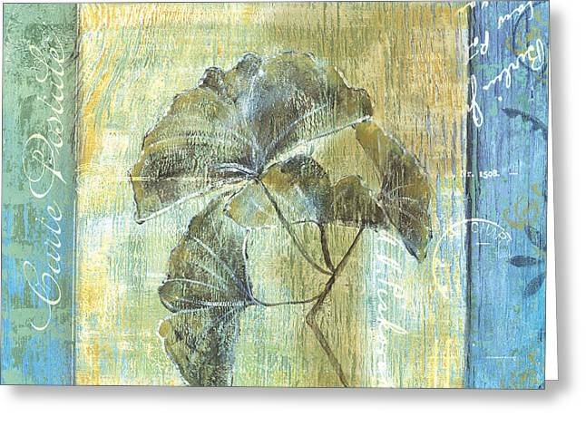 Old Paintings Greeting Cards - Ginkgo Spa 1 Greeting Card by Debbie DeWitt