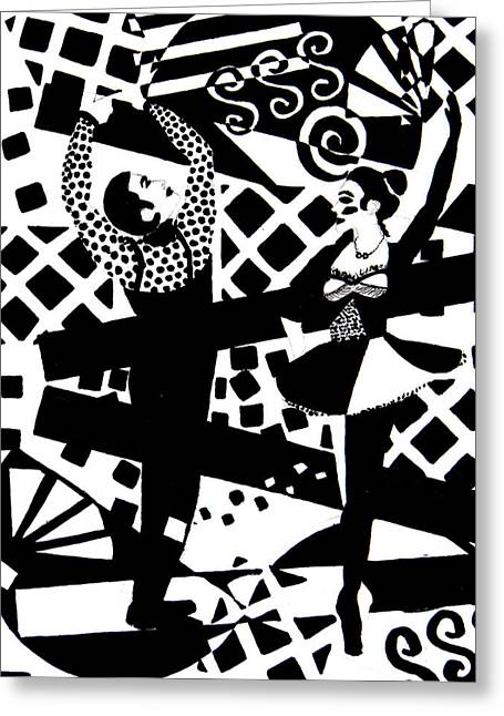 Toy Store Drawings Greeting Cards - Giocattolo Dancers Greeting Card by Forartsake Studio