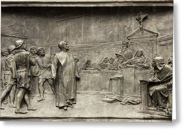 Trial Greeting Cards - Giordano Bruno On Trial Greeting Card by Sheila Terry