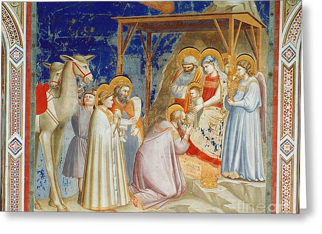 Royal Family Arts Greeting Cards - Giotto: Adoration Greeting Card by Granger