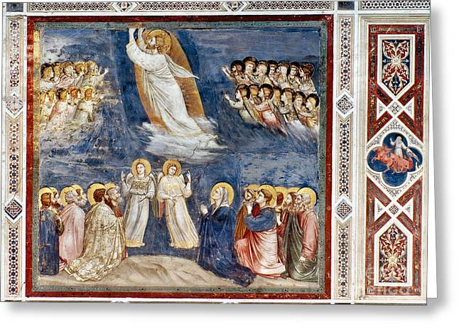 Bondone Greeting Cards - Giotto: Ascension Greeting Card by Granger