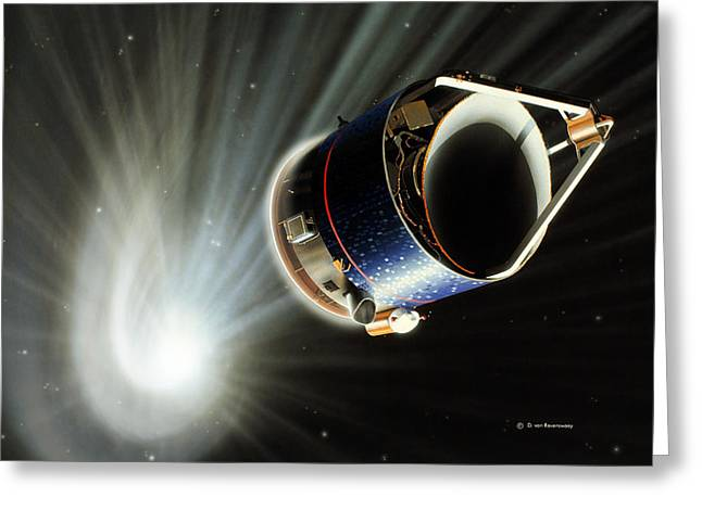Halley Greeting Cards - Giotto Spacecraft At Halleys Comet Greeting Card by Detlev Van Ravenswaay